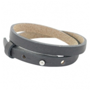 Cuoio bracelets leather 8mm double for 12mm cabochon Lava Grey
