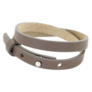 Cuoio bracelets leather 8mm double for 12mm cabochon Deep Greige Brown