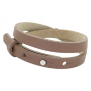 Cuoio bracelets leather 8mm double for 12mm cabochon Medium Brown