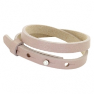 Cuoio bracelets leather 8mm double for 12mm cabochon Rose Taupe
