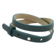 Cuoio bracelets leather 8mm double for 12mm cabochon Forrest Green