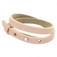Cuoio bracelets leather 8mm double for 12mm cabochon Blush Pink