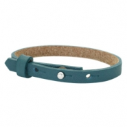 Cuoio bracelets leather 8mm for 12mm cabochon Night Tide Green