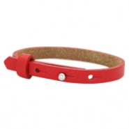 Cuoio bracelets leather 8mm for 12mm cabochon Clear Bright Red