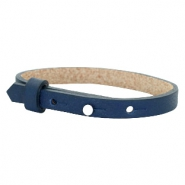 Leather Cuoio kids bracelet 8mm for 12mm cabochon Navy Blue