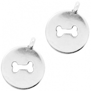 DQ European metal charms dogbone Antique Silver (nickel free)