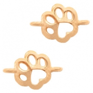 DQ European metal charms connector dog paw Rose Gold (nickel free)