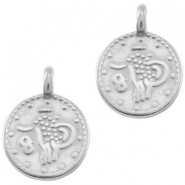 DQ European metal charms ethnic 12mm round Antique Silver (nickel free)