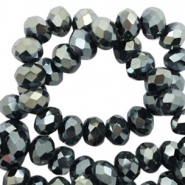 Top faceted beads 8x6mm disc Black-Amber Coating