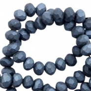 Top faceted beads 4x3mm disc Anthracite Blue