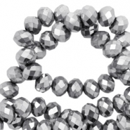 Top faceted beads 6x4mm disc Silver-Amber Coating