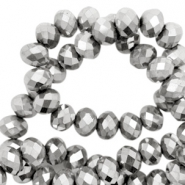 Top faceted beads 4x3mm disc Light Silver-Amber Coating