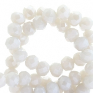 Top faceted beads 8x6mm disc Beige Grey-Pearl Shine Coating