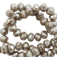 Top faceted beads 4x3mm disc Taupe Grey-Amber Coating