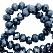 Top faceted beads 8x6mm disc Patriot Blue-Pearl Shine Coating