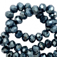 Top faceted beads 8x6mm disc Navy Blue-Amber Coating