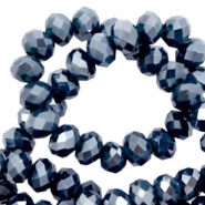 Top faceted beads 4x3mm disc Dark Blue-Pearl Shine Coating