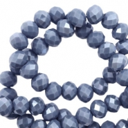 Top faceted beads 4x3mm disc Light Denim Blue-Pearl Shine Coating