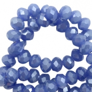 Top faceted beads 4x3mm disc Clematis Blue-Pearl Shine Coating