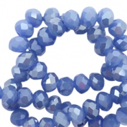 Top faceted beads 4x3mm disc Princess Blue-Pearl Shine Coating
