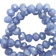 Top faceted beads 6x4mm disc Steel Blue-Pearl Shine Coating
