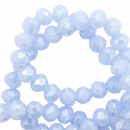 Top faceted beads 4x3mm disc Lila Blue Haze-Pearl Shine Coating