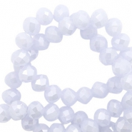 Top faceted beads 8x6mm disc Ice Blue-Pearl Shine Coating