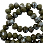 Top faceted beads 4x3mm disc Dark Army Green-Amber Coating