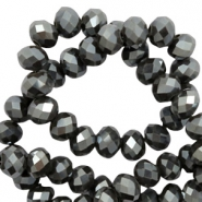 Top faceted beads 6x4mm disc Army Green-Amber Coating
