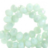 Top faceted beads 8x6mm disc Light Turquoise Green-Diamond Shine Coating