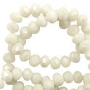 Top faceted beads 8x6mm disc Light Ginger Beige-Pearl Shine Coating