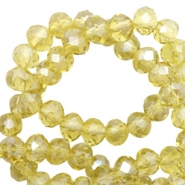 Top faceted beads 6x4mm disc Light Yellow-Pearl Shine Coating