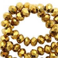 Top faceted beads 4x3mm disc Gold-Amber Coating