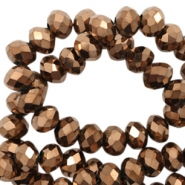 Top faceted beads 8x6mm disc Copper-Amber Coating