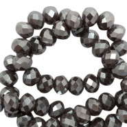 Top faceted beads 8x6mm disc Purple Grey-Pearl Shine Coating