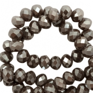 Top faceted beads 6x4mm disc Purple Grey-Amber Coating