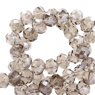 Top faceted beads 4x3mm disc Greige-Pearl Shine Coating