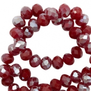 Top faceted beads 6x4mm disc Rumba Red Silver-Pearl Shine Coating