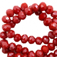 Top faceted beads 8x6mm disc Siam Red-Pearl Shine Coating