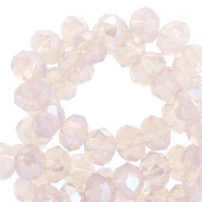 Top faceted beads 4x3mm disc Light Lavender Lila-Pearl Shine Coating