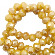 Top faceted beads 6x4mm disc Warm Yellow Gold-Pearl Shine Coating