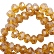 Top faceted beads 4x3mm disc Topaz-Pearl Shine Coating