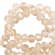 Top faceted beads 8x6mm disc Champagne-Pearl Shine Coating