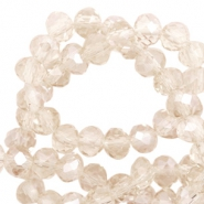 Top faceted beads 4x3mm disc Light Champagne-Pearl Shine Coating
