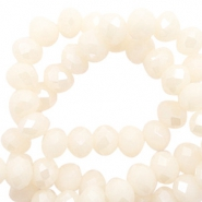 Top faceted beads 8x6mm disc Cream Blush-Pearl Shine Coating