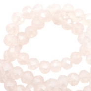 Top faceted beads 6x4mm disc Light Rose Pink Opal-Pearl Shine Coating