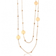 Stainless steel necklaces belcher chain round ball Rose Gold