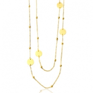 Stainless steel necklaces belcher chain round ball Gold