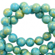 8 mm natural stone beads round jade Gold-Turquoise Blue