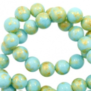 4 mm natural stone beads round jade Gold-Clearwater Blue